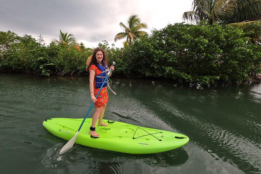 Paddleboarding in Harvest Caye